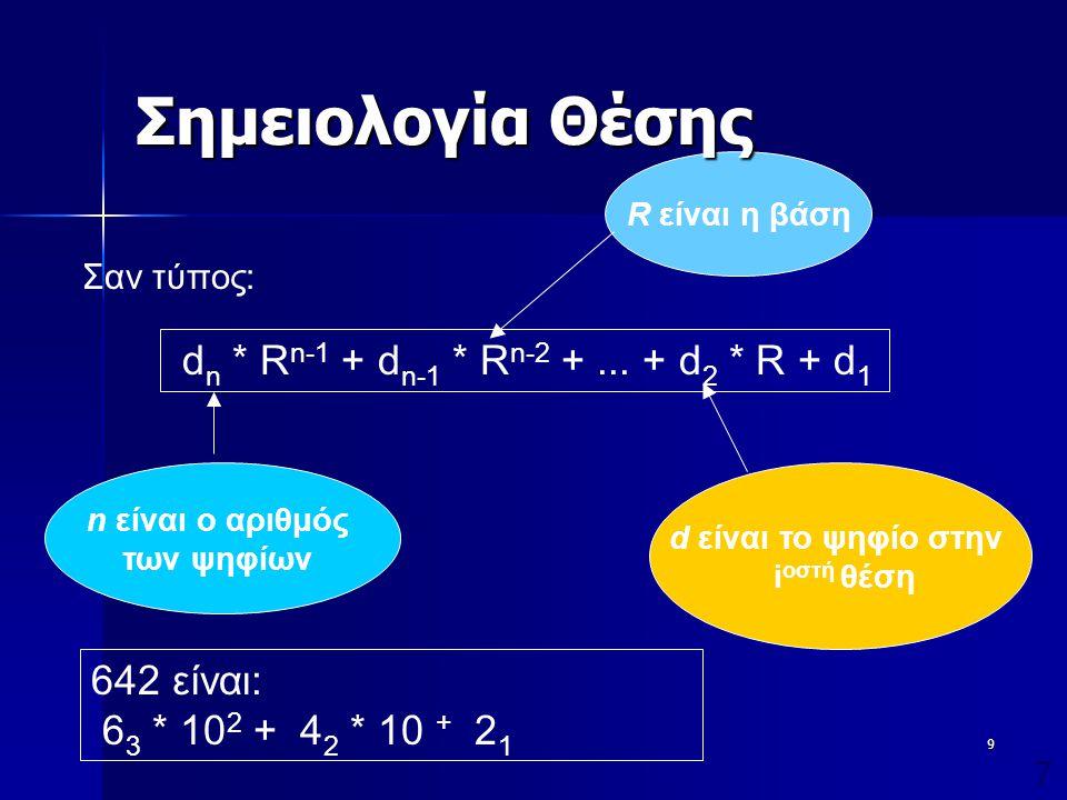 10 Συστήματα Αρίθμησης  Τα συνηθέστερα αριθμητικά συστήματα είναι το δεκαδικό και αυτά που αποτελούν δυνάμεις του δύο: –Δεκαδικό σύστημα (Βάση: το 10, Σύμβολα: 0,1,2,3,4,5,6,7,8,9) –Δυαδικό σύστημα (Βάση: το 2, Σύμβολα: 0,1) –Οκταδικό σύστημα (Βάση: το 8, Σύμβολα: 0,1,2,3,4,5,6,7) –Δεκαεξαδικό σύστημα (Βάση: το 16, Σύμβολα: 0,1,2,3,4,5,6,7,8,9,A,B,C,D,E,F)