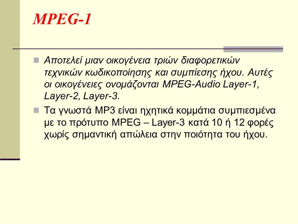 MPEG-1  Αποτελεί μιαν οικογένεια τριών διαφορετικών τεχνικών κωδικοποίησης και συμπίεσης ήχου.