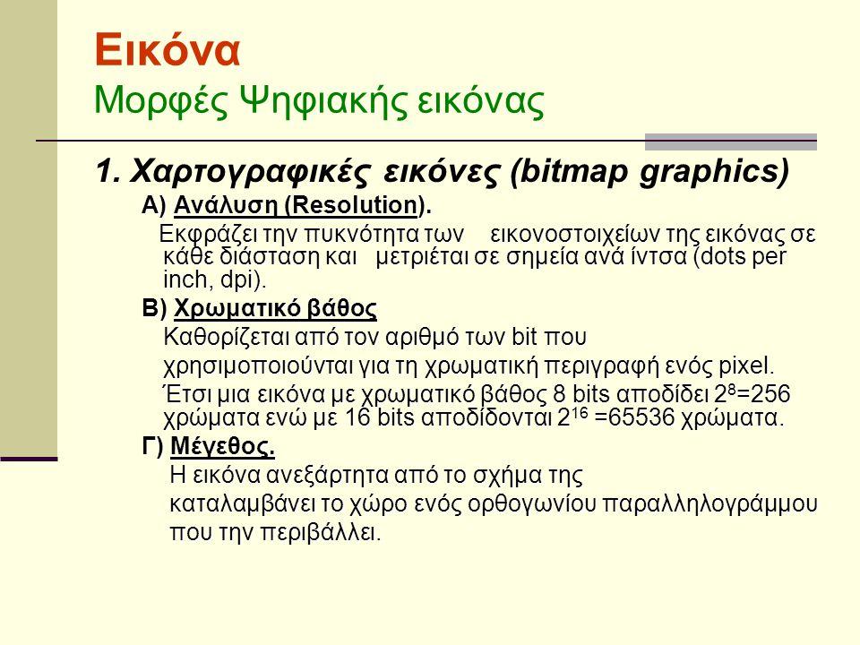 Εικόνα Μορφές Ψηφιακής εικόνας 1.Χαρτογραφικές εικόνες (bitmap graphics) Α) Ανάλυση (Resolution).