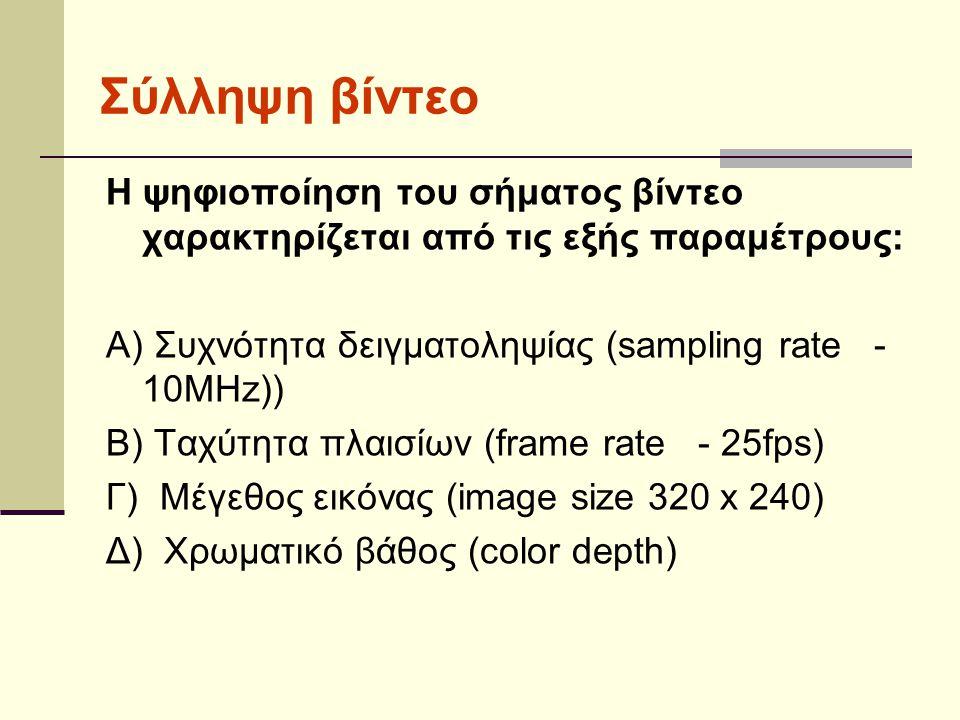 Η ψηφιοποίηση του σήματος βίντεο χαρακτηρίζεται από τις εξής παραμέτρους: Α) Συχνότητα δειγματοληψίας (sampling rate - 10MHz)) Β) Ταχύτητα πλαισίων (frame rate - 25fps) Γ) Μέγεθος εικόνας (image size 320 x 240) Δ) Χρωματικό βάθος (color depth) Σύλληψη βίντεο
