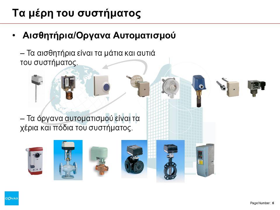Page Number : 6 Τα μέρη του συστήματος •Αισθητήρια/Οργανα Αυτοματισμού – Τα αισθητήρια είναι τα μάτια και αυτιά του συστήματος. – Τα όργανα αυτοματισμ