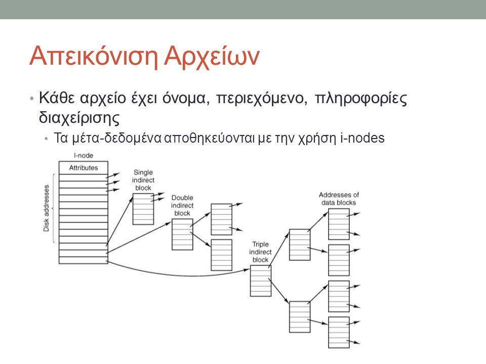 Απεικόνιση Αρχείων • Κάθε αρχείο έχει όνομα, περιεχόμενο, πληροφορίες διαχείρισης • Τα μέτα-δεδομένα αποθηκεύονται με την χρήση i-nodes