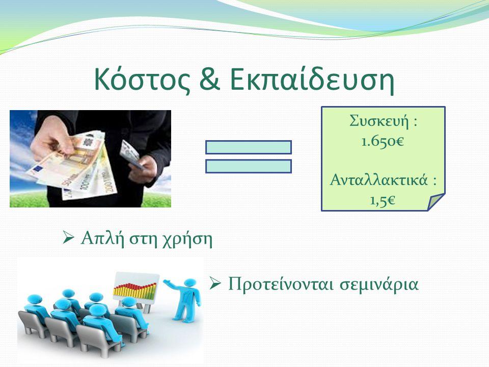 Κόστος & Εκπαίδευση Συσκευή : 1.650€ Ανταλλακτικά : 1,5€  Απλή στη χρήση  Προτείνονται σεμινάρια