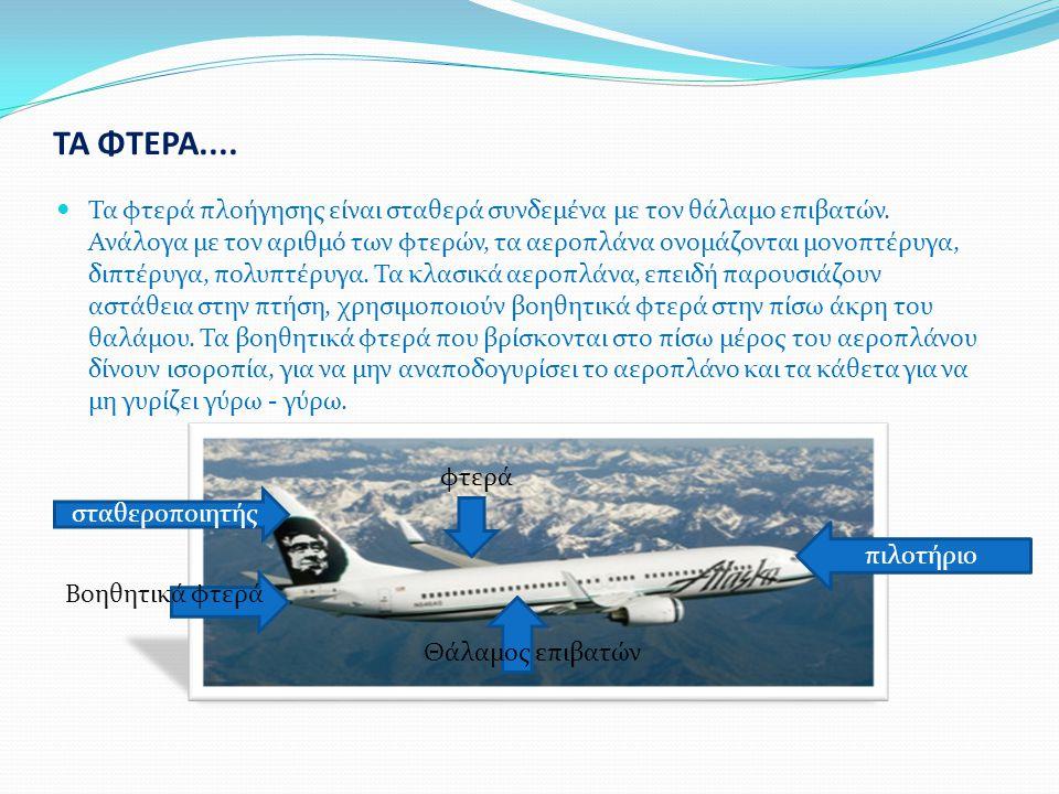 ΤΑ ΦΤΕΡΑ.... Τα φτερά πλοήγησης είναι σταθερά συνδεμένα με τον θάλαμο επιβατών.