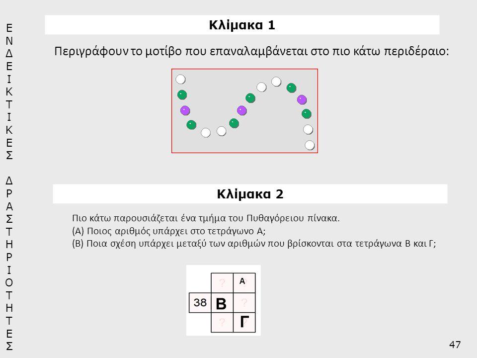 Κλίμακα 1 Περιγράφουν το μοτίβο που επαναλαμβάνεται στο πιο κάτω περιδέραιο: Κλίμακα 2 Πιο κάτω παρουσιάζεται ένα τμήμα του Πυθαγόρειου πίνακα. (Α) Πο