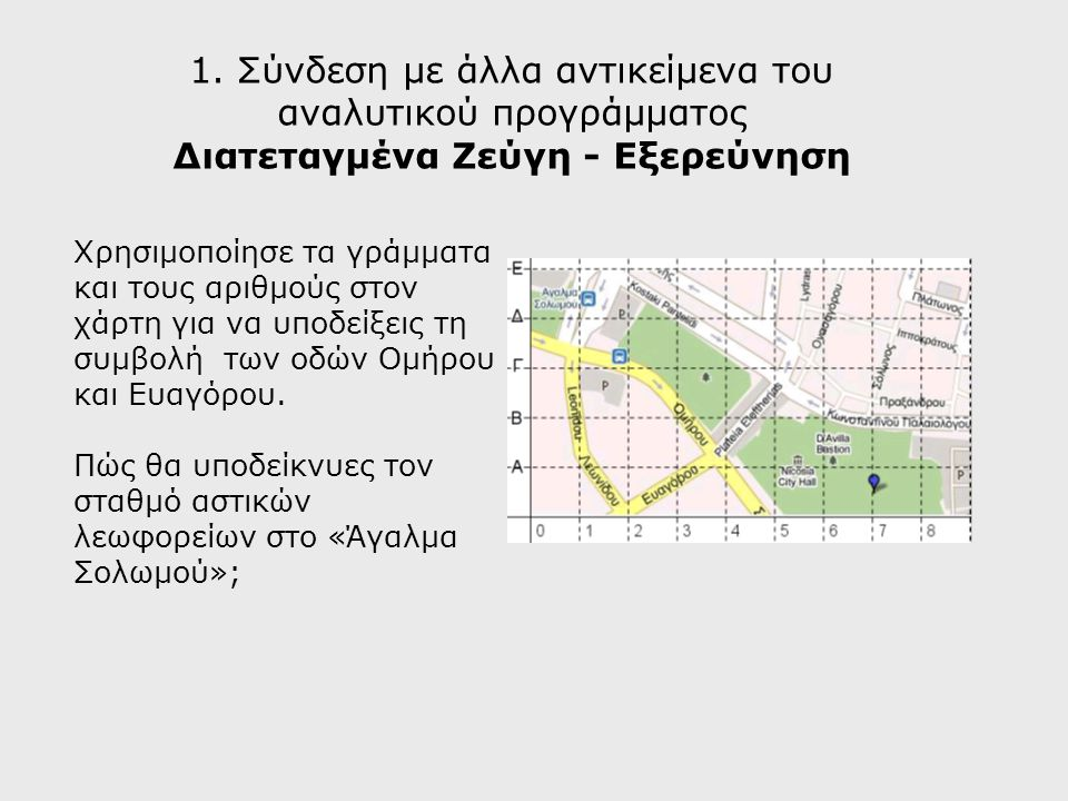 1. Σύνδεση με άλλα αντικείμενα του αναλυτικού προγράμματος Διατεταγμένα Ζεύγη - Εξερεύνηση Χρησιμοποίησε τα γράμματα και τους αριθμούς στον χάρτη για