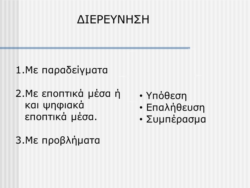 ΔΙΕΡΕΥΝΗΣΗ 1.Με παραδείγματα 2.Με εποπτικά μέσα ή και ψηφιακά εποπτικά μέσα. 3.Με προβλήματα • Υπόθεση • Επαλήθευση • Συμπέρασμα