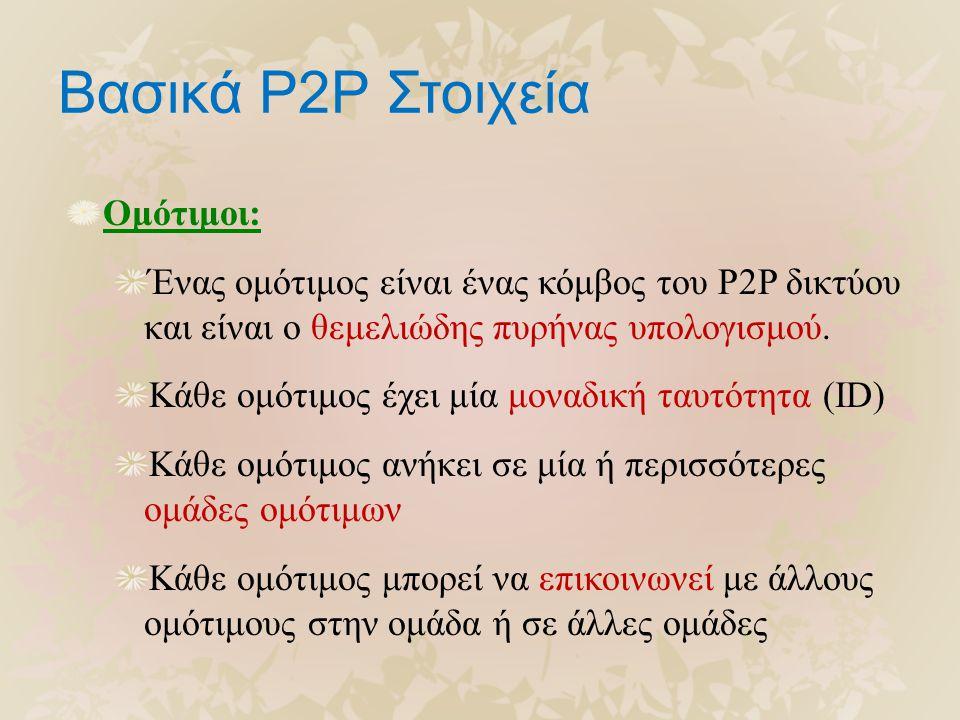 Βασικά P2P Στοιχεία Ομότιμοι: Ένας ομότιμος είναι ένας κόμβος του P2P δικτύου και είναι ο θεμελιώδης πυρήνας υπολογισμού. Κάθε ομότιμος έχει μία μοναδ