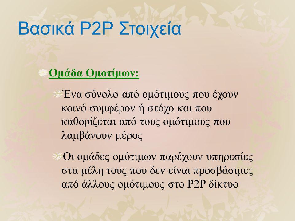 Βασικά P2P Στοιχεία Ομάδα Ομοτίμων: Ένα σύνολο από ομότιμους που έχουν κοινό συμφέρον ή στόχο και που καθορίζεται από τους ομότιμους που λαμβάνουν μέρος Οι ομάδες ομότιμων παρέχουν υπηρεσίες στα μέλη τους που δεν είναι προσβάσιμες από άλλους ομότιμους στο P2P δίκτυο