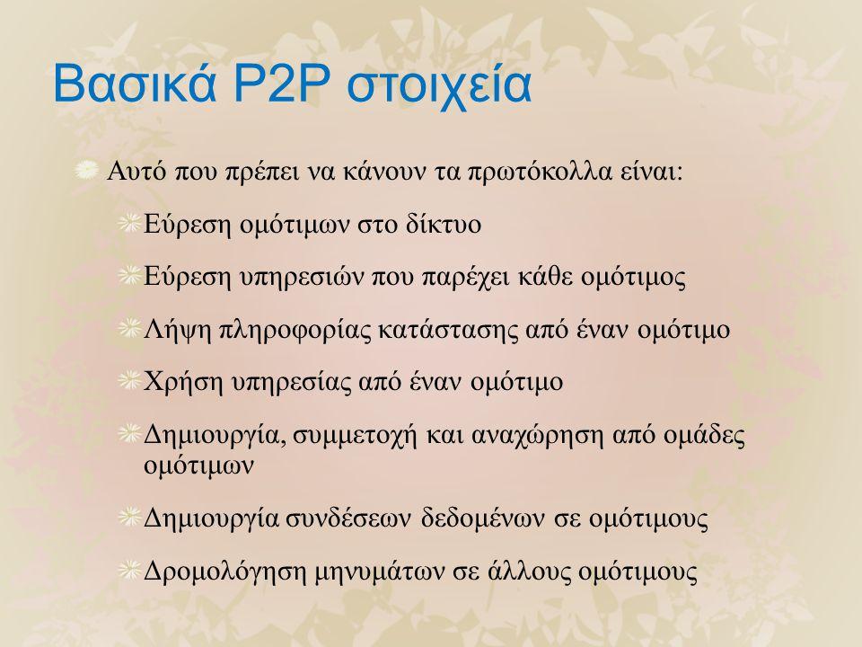 Βασικά P2P στοιχεία Αυτό που πρέπει να κάνουν τα πρωτόκολλα είναι: Εύρεση ομότιμων στο δίκτυο Εύρεση υπηρεσιών που παρέχει κάθε ομότιμος Λήψη πληροφορίας κατάστασης από έναν ομότιμο Χρήση υπηρεσίας από έναν ομότιμο Δημιουργία, συμμετοχή και αναχώρηση από ομάδες ομότιμων Δημιουργία συνδέσεων δεδομένων σε ομότιμους Δρομολόγηση μηνυμάτων σε άλλους ομότιμους