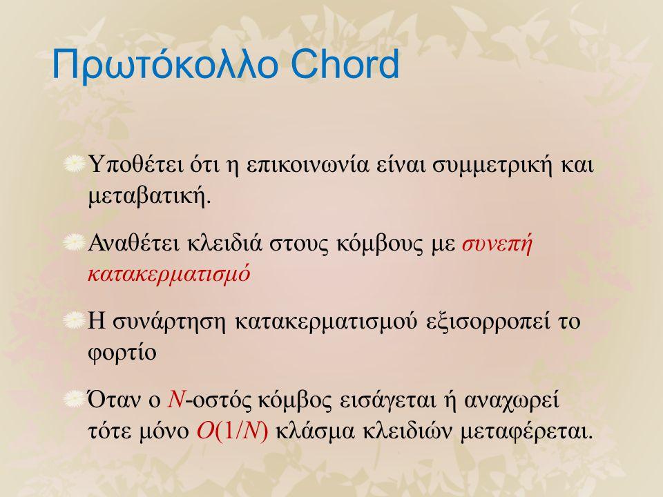 Πρωτόκολλο Chord Υποθέτει ότι η επικοινωνία είναι συμμετρική και μεταβατική. Αναθέτει κλειδιά στους κόμβους με συνεπή κατακερματισμό Η συνάρτηση κατακ