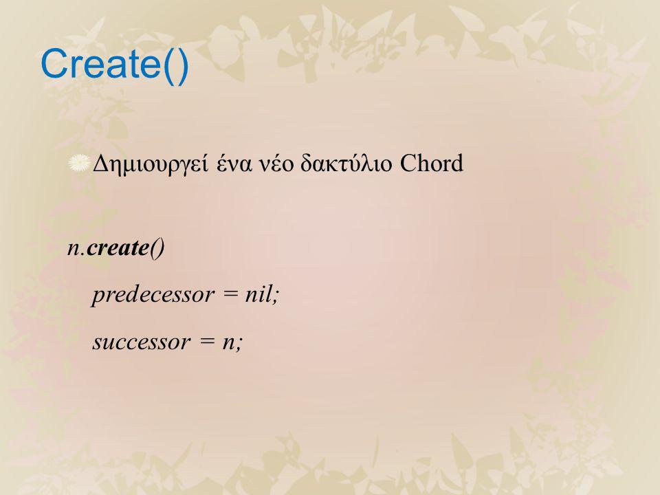 Create() Δημιουργεί ένα νέο δακτύλιο Chord n.create() predecessor = nil; successor = n;