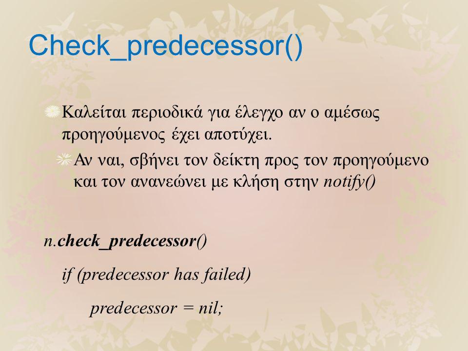 Check_predecessor() Καλείται περιοδικά για έλεγχο αν ο αμέσως προηγούμενος έχει αποτύχει. Αν ναι, σβήνει τον δείκτη προς τον προηγούμενο και τον ανανε