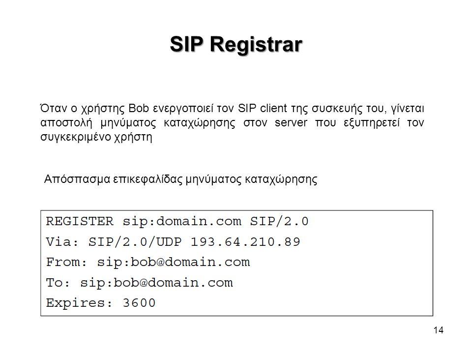 SIP Registrar 14 Όταν ο χρήστης Bob ενεργοποιεί τον SIP client της συσκευής του, γίνεται αποστολή μηνύματος καταχώρησης στον server που εξυπηρετεί τον