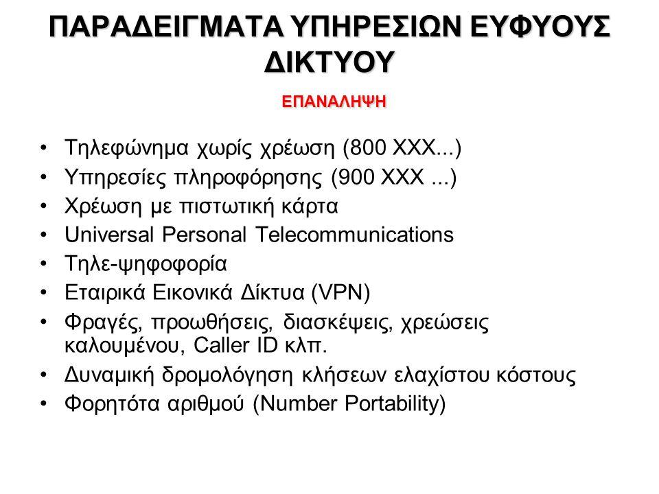 ΙΣΤΟΡΙΚΟ Εξέλιξη τηλεφωνίας ΕΠΑΝΑΛΗΨΗ –POTS (Plain Old Telephone Service), PSTN (Public Switched Telephone Network), ISDN (Integrated Services Digital Network), GSM/GPRS (κινητή τηλεφωνία 2 ας γενιάς) –SPC Stored Program Control – 1960/70 –CCS Common Channel Signaling Network •SS7 – 1970/80 –IN/1 (Intelligent Network) – 1980/1990 •Service Control Point (SCP) – εξωτερικές βάσεις δεδομένων (π.χ.