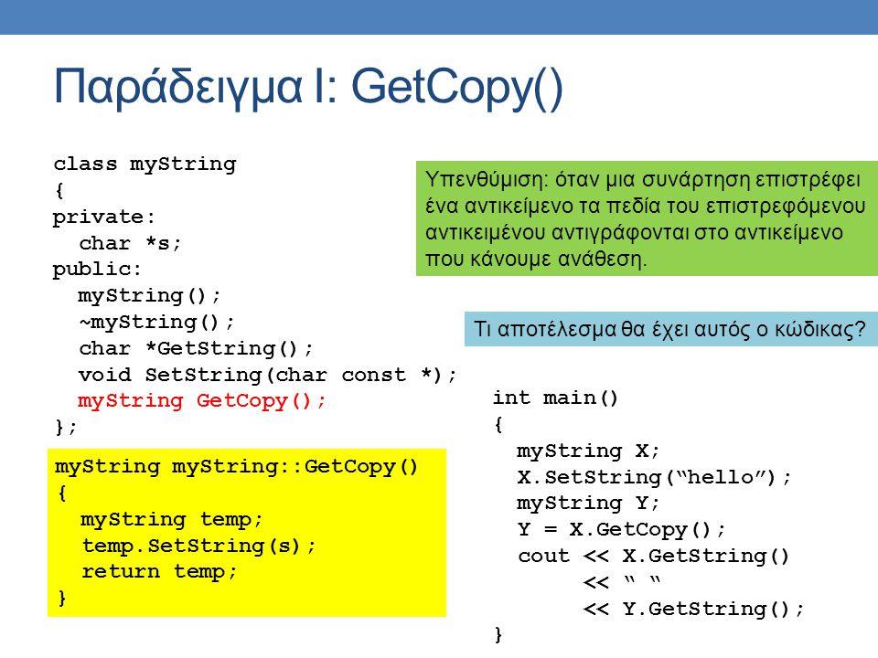Παράδειγμα Ι: GetCopy() class myString { private: char *s; public: myString(); ~myString(); char *GetString(); void SetString(char const *); myString GetCopy(); }; myString myString::GetCopy() { myString temp; temp.SetString(s); return temp; } int main() { myString X; X.SetString( hello ); myString Y; Y = X.GetCopy(); cout << X.GetString() << << Y.GetString(); } Υπενθύμιση: όταν μια συνάρτηση επιστρέφει ένα αντικείμενο τα πεδία του επιστρεφόμενου αντικειμένου αντιγράφονται στο αντικείμενο που κάνουμε ανάθεση.