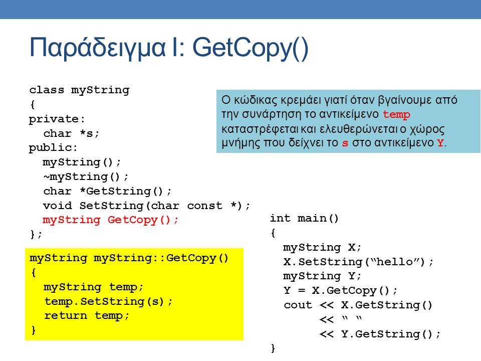 Παράδειγμα Ι: GetCopy() class myString { private: char *s; public: myString(); ~myString(); char *GetString(); void SetString(char const *); myString GetCopy(); }; myString myString::GetCopy() { myString temp; temp.SetString(s); return temp; } int main() { myString X; X.SetString( hello ); myString Y; Y = X.GetCopy(); cout << X.GetString() << << Y.GetString(); } Ο κώδικας κρεμάει γιατί όταν βγαίνουμε από την συνάρτηση το αντικείμενο temp καταστρέφεται και ελευθερώνεται ο χώρος μνήμης που δείχνει το s στο αντικείμενο Υ.
