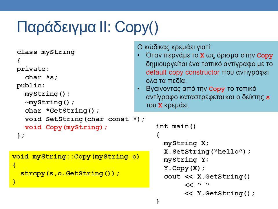Παράδειγμα ΙΙ: Copy() class myString { private: char *s; public: myString(); ~myString(); char *GetString(); void SetString(char const *); void Copy(myString); }; void myString::Copy(myString o) { strcpy(s,o.GetString()); } int main() { myString X; X.SetString( hello ); myString Y; Y.Copy(X); cout << X.GetString() << << Y.GetString(); } O κώδικας κρεμάει γιατί: •Όταν περνάμε το Χ ως όρισμα στην Copy δημιουργείται ένα τοπικό αντίγραφο με το default copy constructor που αντιγράφει όλα τα πεδία.