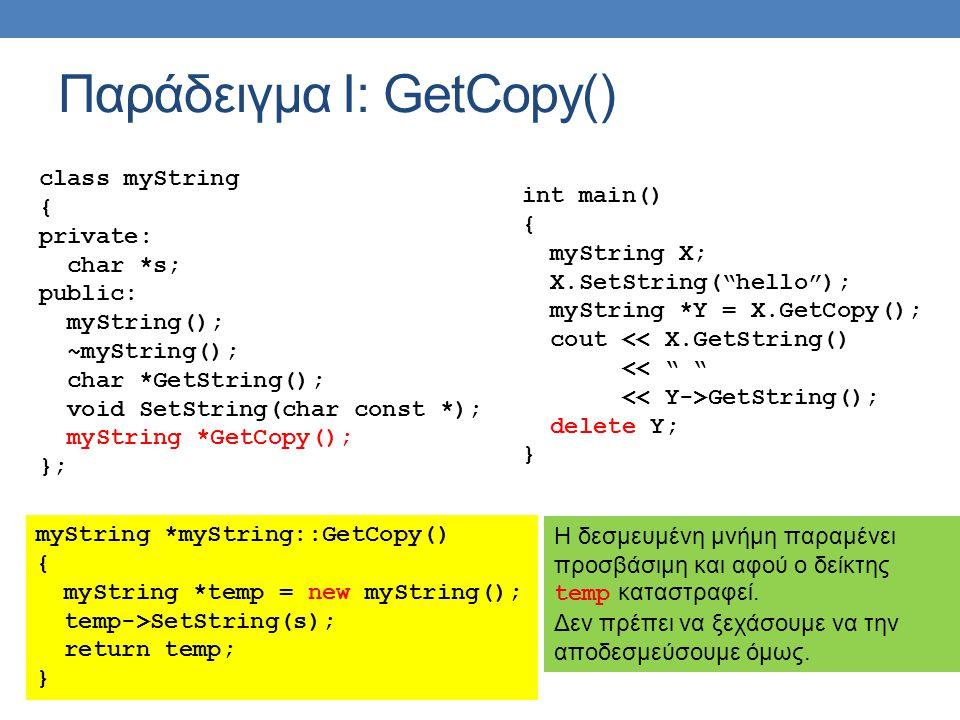 Παράδειγμα Ι: GetCopy() class myString { private: char *s; public: myString(); ~myString(); char *GetString(); void SetString(char const *); myString *GetCopy(); }; myString *myString::GetCopy() { myString *temp = new myString(); temp->SetString(s); return temp; } int main() { myString X; X.SetString( hello ); myString *Y = X.GetCopy(); cout << X.GetString() << GetString(); delete Y; } Η δεσμευμένη μνήμη παραμένει προσβάσιμη και αφού ο δείκτης temp καταστραφεί.
