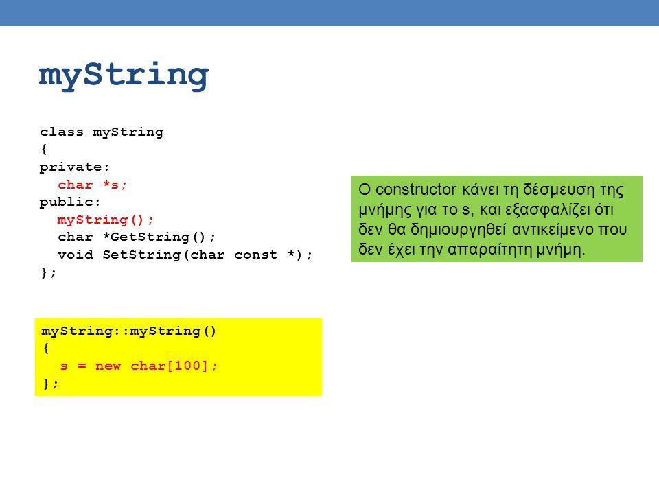 myString class myString { private: char *s; public: myString(); char *GetString(); void SetString(char const *); }; Ο constructor κάνει τη δέσμευση της μνήμης για το s, και εξασφαλίζει ότι δεν θα δημιουργηθεί αντικείμενο που δεν έχει την απαραίτητη μνήμη.