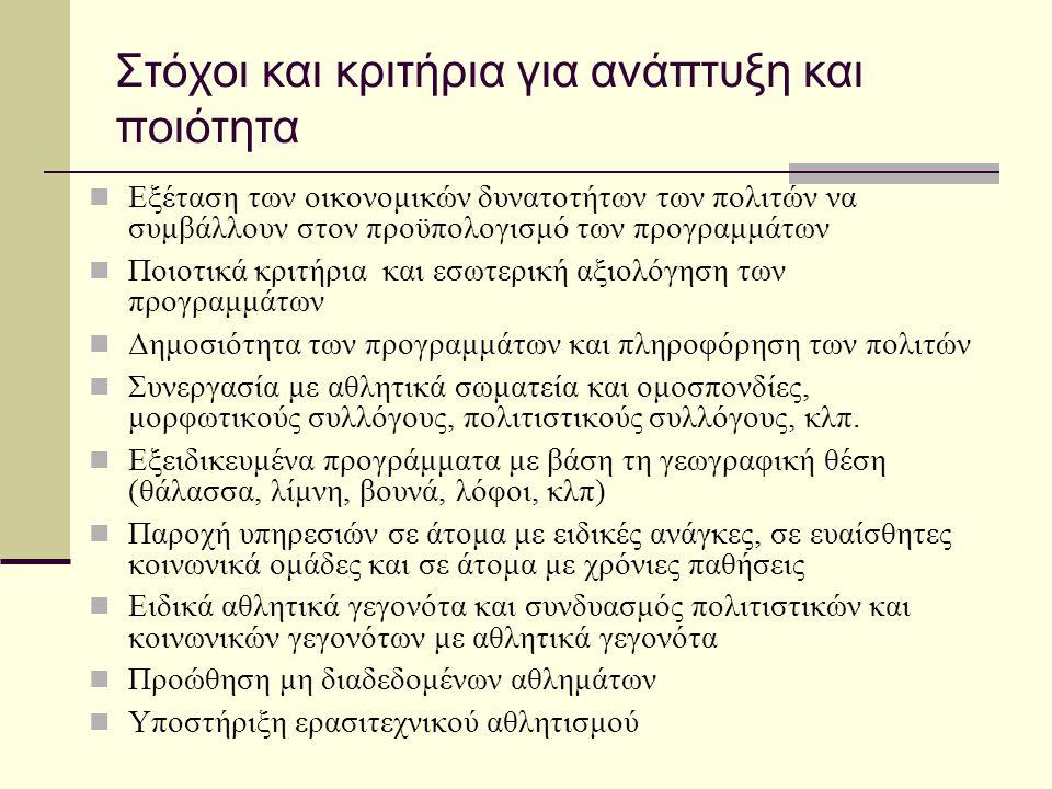 Στόχοι και κριτήρια για ανάπτυξη και ποιότητα  Εξέταση των οικονομικών δυνατοτήτων των πολιτών να συμβάλλουν στον προϋπολογισμό των προγραμμάτων  Πο