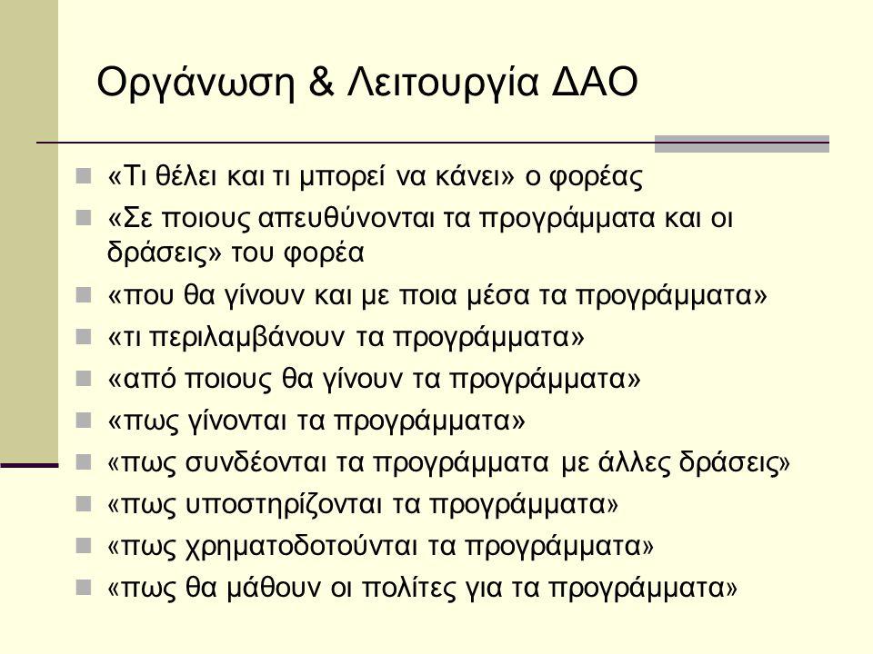 Οργάνωση & Λειτουργία ΔΑΟ  «Τι θέλει και τι μπορεί να κάνει» ο φορέας  «Σε ποιους απευθύνονται τα προγράμματα και οι δράσεις» του φορέα  «που θα γί