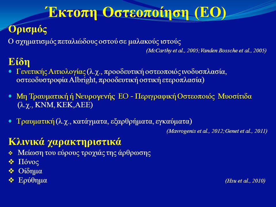 Έκτοπη Οστεοποίηση (ΕΟ) Ορισμός Ο σχηματισμός πεταλιώδους οστού σε μαλακούς ιστούς (McCarthy et al., 2005;Vanden Bossche et al., 2005) Είδη  Γενετικής Αιτιολογίας (λ.χ., π  Γενετικής Αιτιολογίας (λ.χ., προοδευτική οστεοποιός ινοδυσπλασία, οστεοδυστροφία Albright, προοδευτική οστική ετεροπλασία)  Μη Τραυματική ή Νευρογενής ΕΟ - Περιγραφική Οστεοποιός Μυοσίτιδα (λ.χ., ΚΝΜ, ΚΕΚ,ΑΕΕ)  Τραυματική  Τραυματική (λ.χ., κατάγματα, εξαρθρήματα, εγκαύματα) (Mavrogenis et al., 2012;Genet et al., 2011) Κλινικά χαρακτηριστικά  Μείωση του εύρους τροχιάς της άρθρωσης  Πόνος  Οίδημα  Ερύθημα (Hsu et al., 2010)