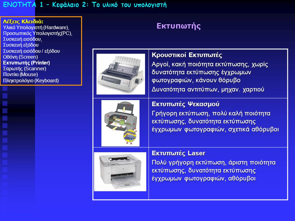 ΕΝΟΤΗΤΑ 1 – Κεφάλαιο 2: To υλικό του υπολογιστή Εκτυπωτής Λέξεις Κλειδιά: Υλικό Υπολογιστή (Hardware), Προσωπικός Υπολογιστής(PC), Συσκευή εισόδου, Συσκευή εξόδου Συσκευή εισόδου / εξόδου Οθόνη (Screen) Εκτυπωτής (Printer) Σαρωτής (Scanner) Ποντίκι (Mouse) Πληκτρολόγιο (Keyboard) Laser Κρουστικοί Εκτυπωτές Αργοί, κακή ποιότητα εκτύπωσης, χωρίς δυνατότητα εκτύπωσης έγχρωμων φωτογραφιών, κάνουν θόρυβο Δυνατότητα αντιτύπων, μηχαν.