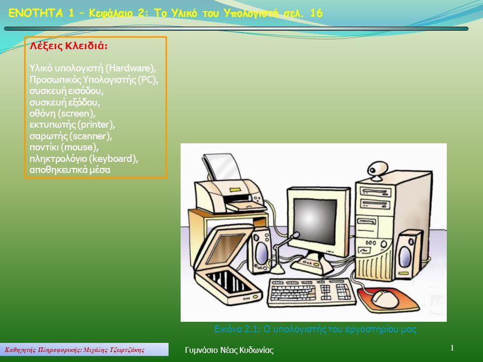 1 ΕΝΟΤΗΤΑ 1 – Κεφάλαιο 2: Το Υλικό του Υπολογιστή σελ. 16 Λέξεις Κλειδιά: Υλικό υπολογιστή (Hardware), Προσωπικός Υπολογιστής (PC), συσκευή εισόδου, σ