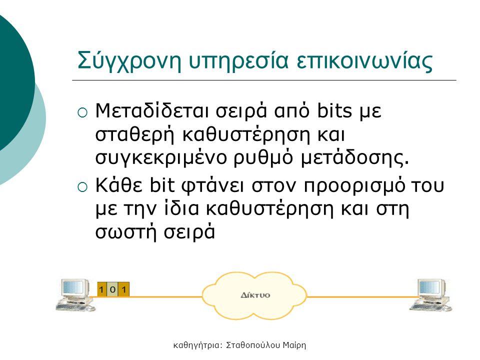 καθηγήτρια: Σταθοπούλου Μαίρη Σύγχρονη υπηρεσία επικοινωνίας  Μεταδίδεται σειρά από bits με σταθερή καθυστέρηση και συγκεκριμένο ρυθμό μετάδοσης.  Κ