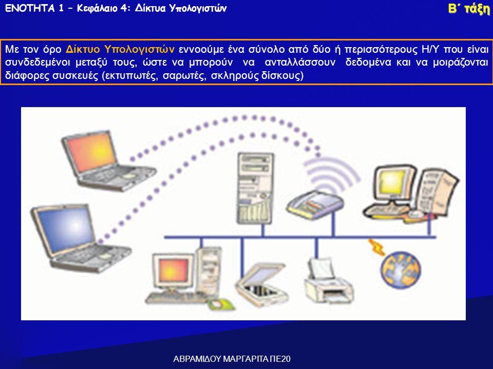 ΕΝΟΤΗΤΑ 1 – Κεφάλαιο 4: Δίκτυα Υπολογιστών Με τον όρο Δίκτυο Υπολογιστών εννοούμε ένα σύνολο από δύο ή περισσότερους Η/Υ που είναι συνδεδεμένοι μεταξύ