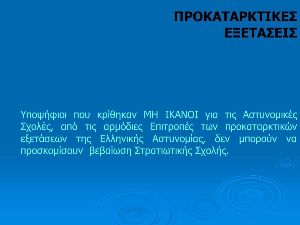 Υποψήφιοι που κρίθηκαν ΜΗ ΙΚΑΝΟΙ για τις Αστυνομικές Σχολές, από τις αρμόδιες Επιτροπές των προκαταρκτικών εξετάσεων της Ελληνικής Αστυνομίας, δεν μπο