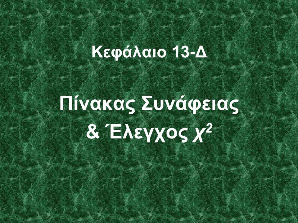 Κεφάλαιο 13-Δ Πίνακας Συνάφειας & Έλεγχος χ 2