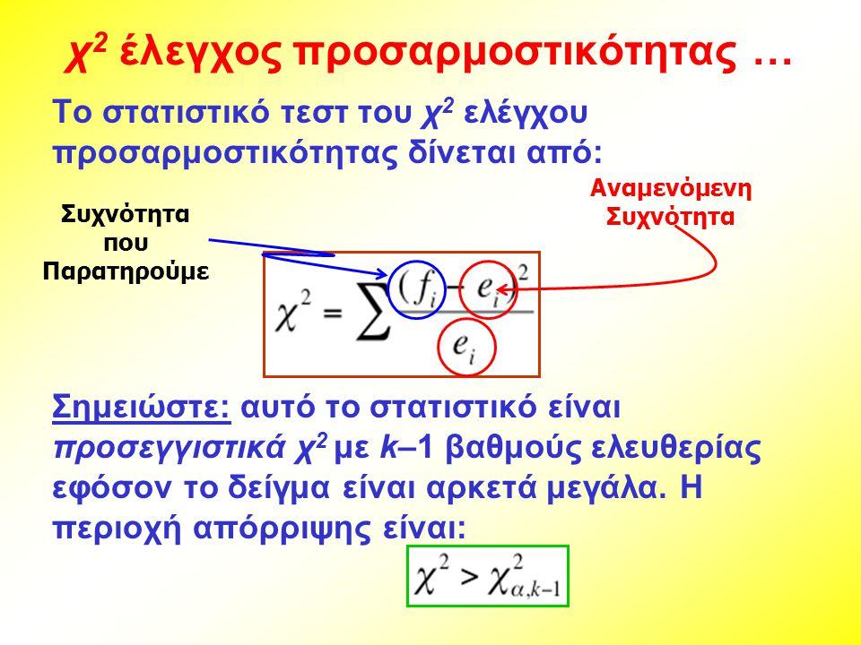 χ 2 έλεγχος προσαρμοστικότητας … Το στατιστικό τεστ του χ 2 ελέγχου προσαρμοστικότητας δίνεται από: Σημειώστε: αυτό το στατιστικό είναι προσεγγιστικά χ 2 με k–1 βαθμούς ελευθερίας εφόσον το δείγμα είναι αρκετά μεγάλα.