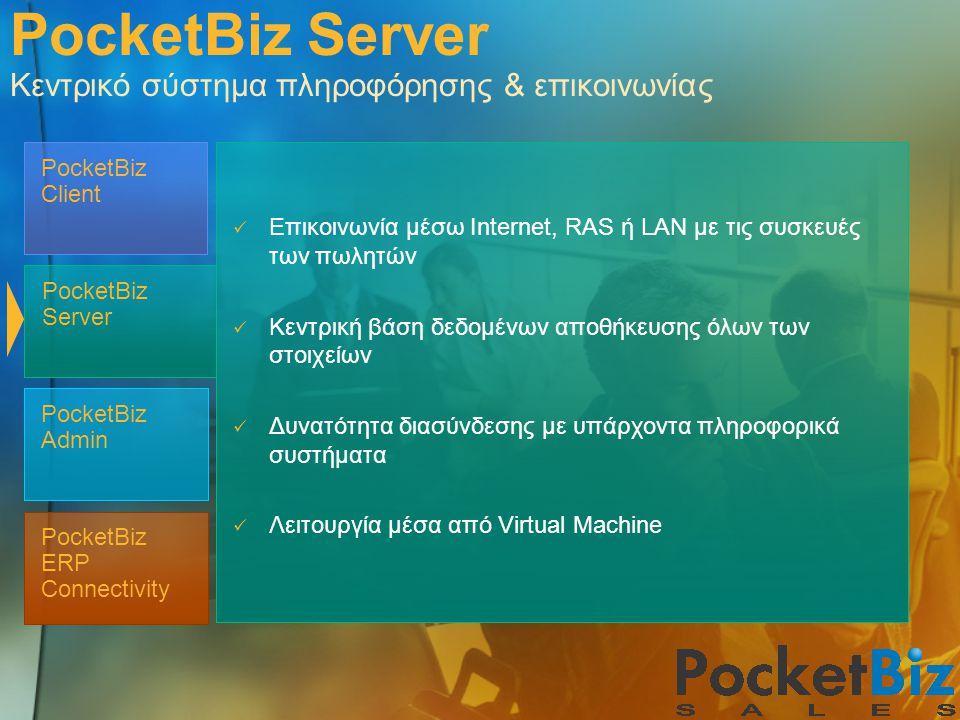 PocketBiz ERP Connectivity PocketBiz Admin PocketBiz Client PocketBiz Server PocketBiz Server Κεντρικό σύστημα πληροφόρησης & επικοινωνίας  Επικοινων