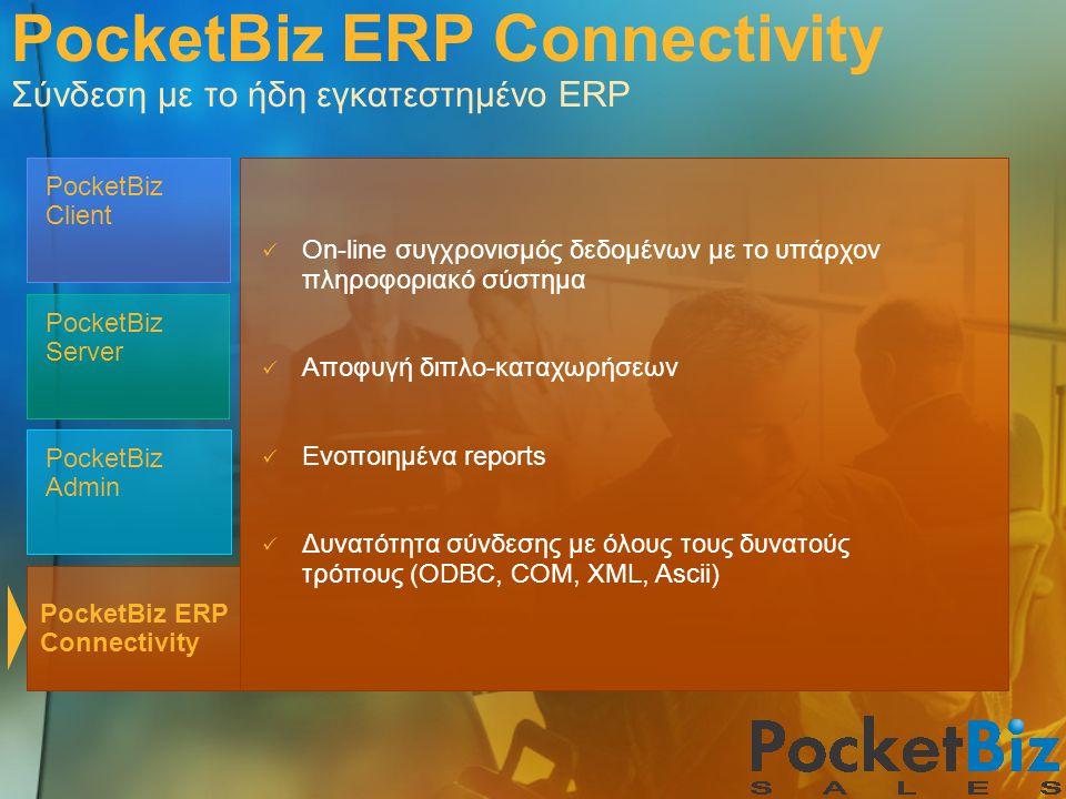 PocketBiz Admin PocketBiz Client PocketBiz Server PocketBiz ERP Connectivity  On-line συγχρονισμός δεδομένων με το υπάρχον πληροφοριακό σύστημα  Απο