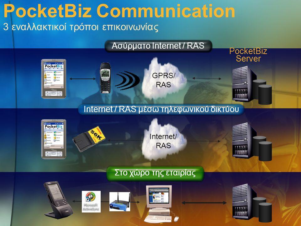 Internet / RAS μέσω τηλεφωνικού δικτύου Στο χώρο της εταιρίας Ασύρματο Internet / RAS GPRS/ RAS PocketBiz Communication 3 εναλλακτικοί τρόποι επικοινω