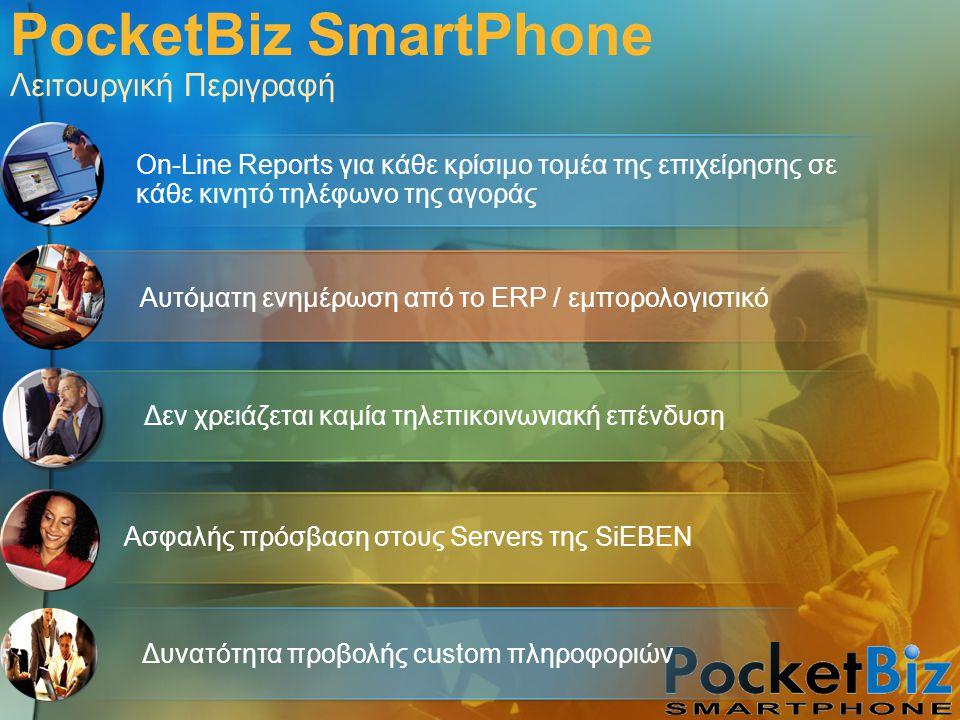 PocketBiz SmartPhone Λειτουργική Περιγραφή Αυτόματη ενημέρωση από το ERP / εμπορολογιστικό Ασφαλής πρόσβαση στους Servers της SiEBEN Δεν χρειάζεται κα