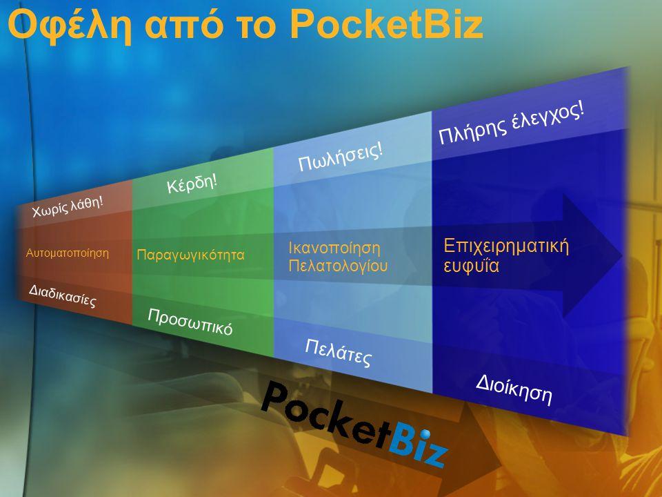 Οφέλη από το PocketBiz Παραγωγικότητα Αυτοματοποίηση Ικανοποίηση Πελατολογίου Επιχειρηματική ευφυΐα Πελάτες Προσωπικό Διοίκηση Πωλήσεις! Κέρδη! Πλήρης