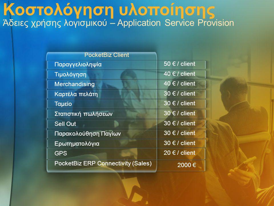 Κοστολόγηση υλοποίησης Άδειες χρήσης λογισμικού – Application Service Provision Παραγγελιοληψία Τιμολόγηση Merchandising Καρτέλα πελάτη Ταμείο Στατιστ