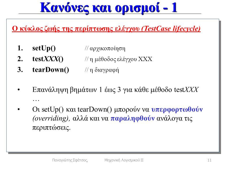 Κανόνες και ορισμοί - 1 11Παναγιώτης Σφέτσος, Μηχανική Λογισμικού ΙΙ Ο κύκλος ζωής της περίπτωσης ελέγχου (TestCase lifecycle) 1.setUp() // αρχικοποίηση 2.testXXX() // η μέθοδος ελέγχου ΧΧΧ 3.tearDown() // η διαγραφή •Επανάληψη βημάτων 1 έως 3 για κάθε μέθοδο testXXX … •Οι setUp() και tearDown() μπορούν να υπερφορτωθούν (overriding), αλλά και να παραληφθούν ανάλογα τις περιπτώσεις.