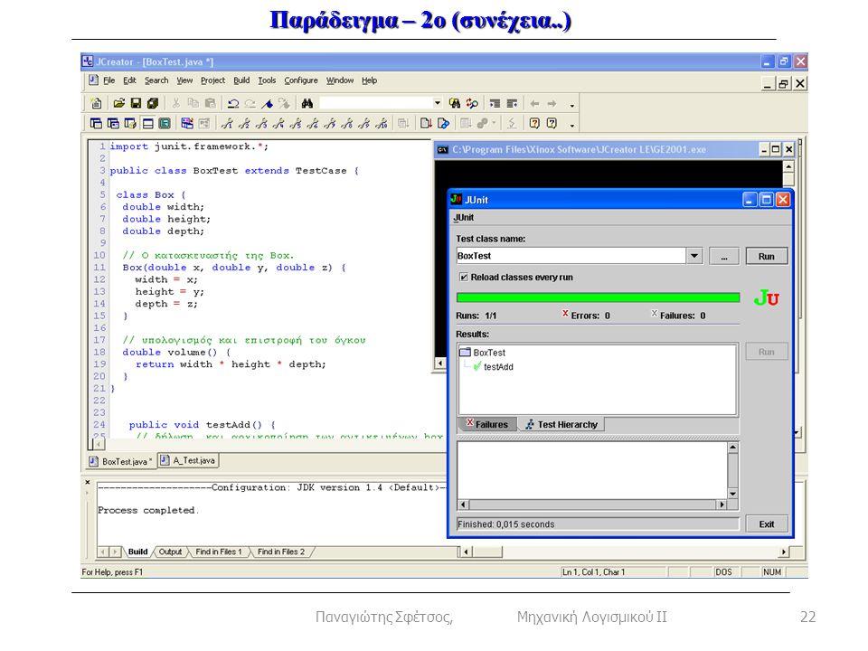 Παράδειγμα – 2ο (συνέχεια..) 22Παναγιώτης Σφέτσος, Μηχανική Λογισμικού ΙΙ