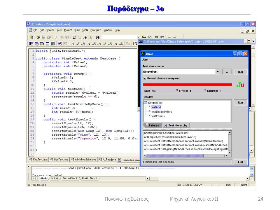 Παράδειγμα – 3ο 24Παναγιώτης Σφέτσος, Μηχανική Λογισμικού ΙΙ
