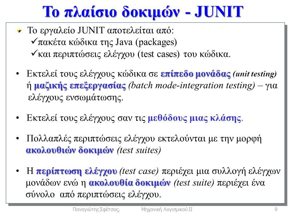Το πλαίσιο δοκιμών - JUNIT 9Παναγιώτης Σφέτσος, Μηχανική Λογισμικού ΙΙ Το εργαλείο JUNIT αποτελείται από:  πακέτα κώδικα της Java (packages)  και περιπτώσεις ελέγχου (test cases) του κώδικα.
