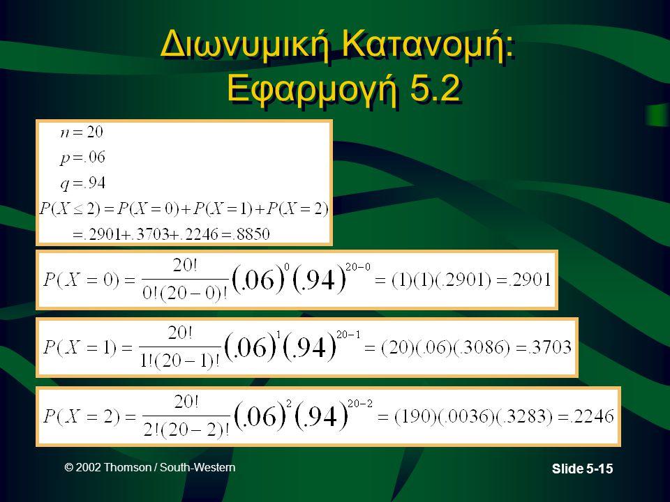 © 2002 Thomson / South-Western Slide 5-15 Διωνυμική Κατανομή: Εφαρμογή 5.2
