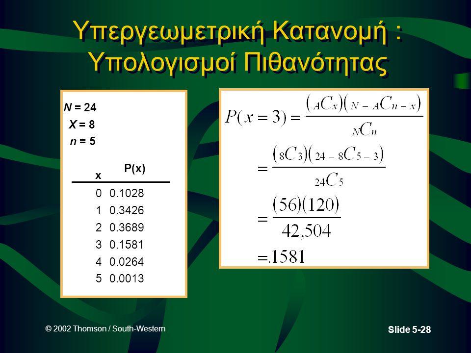 © 2002 Thomson / South-Western Slide 5-28 Υπεργεωμετρική Κατανομή : Υπολογισμοί Πιθανότητας N = 24 X = 8 n = 5 x 00.1028 10.3426 20.3689 30.1581 40.0264 50.0013 P(x)