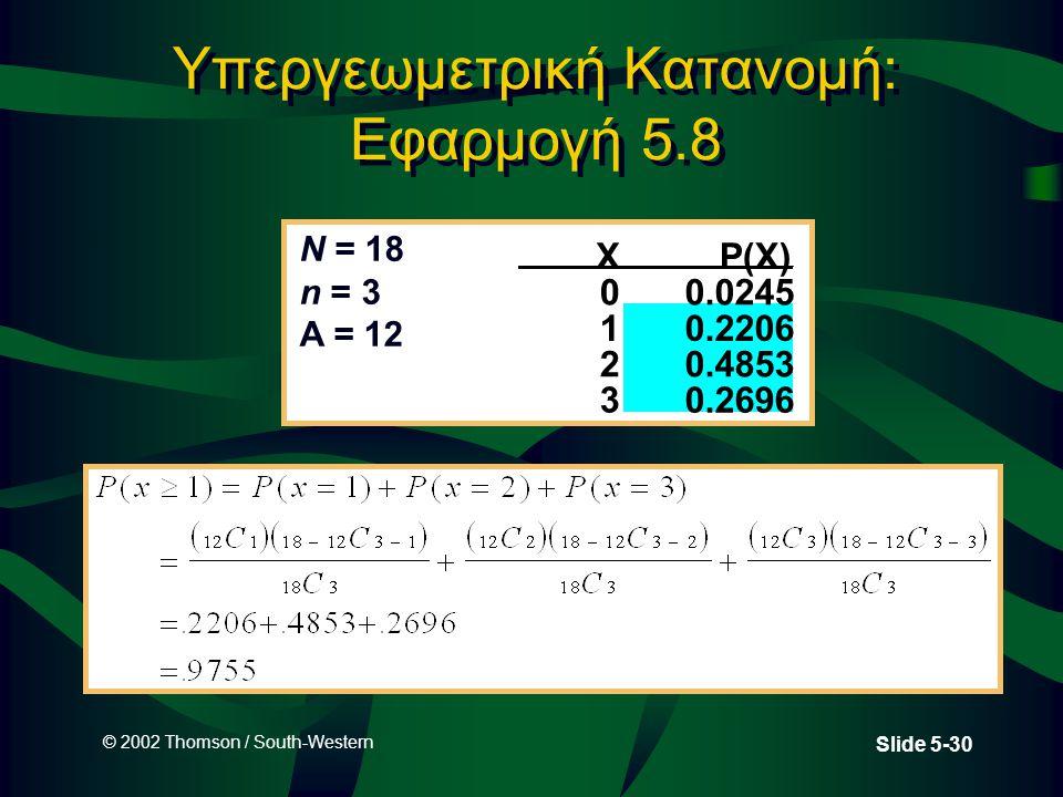 © 2002 Thomson / South-Western Slide 5-30 Υπεργεωμετρική Κατανομή: Εφαρμογή 5.8 XP(X) 00.0245 10.2206 20.4853 3 0.2696 N = 18 n = 3 A = 12