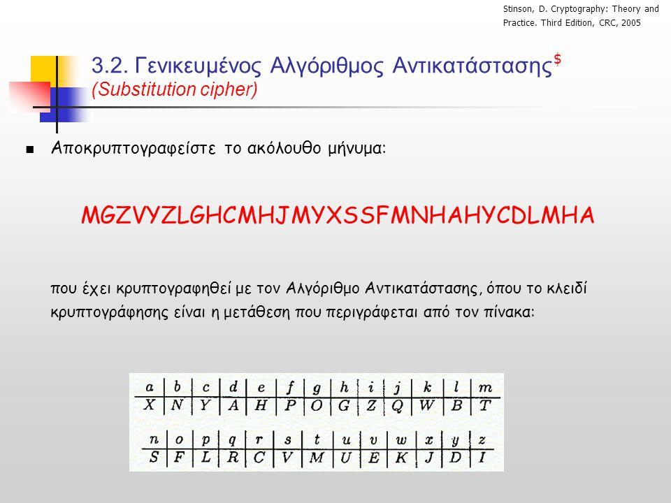 3.2. Γενικευμένος Αλγόριθμος Αντικατάστασης (Substitution cipher)  Αποκρυπτογραφείστε το ακόλουθο μήνυμα: MGZVYZLGHCMHJMYXSSFMNHAHYCDLMHA που έχει κρ