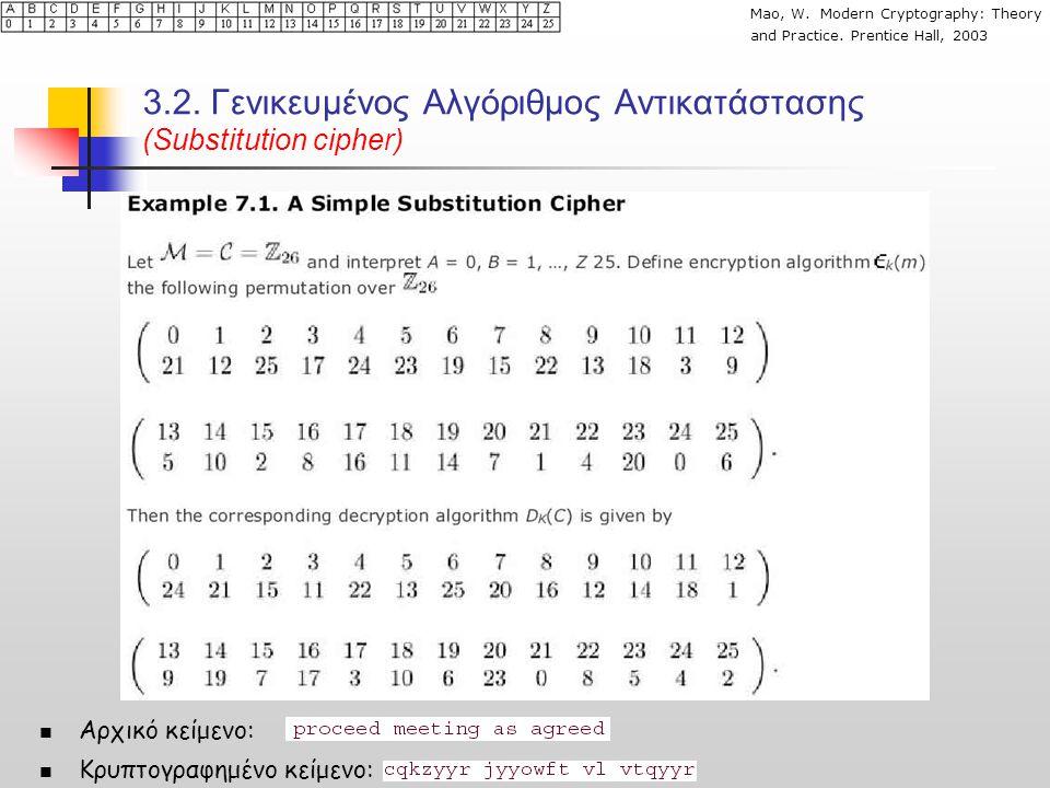 3.2. Γενικευμένος Αλγόριθμος Αντικατάστασης (Substitution cipher)  Αρχικό κείμενο:  Κρυπτογραφημένο κείμενο: Mao, W. Modern Cryptography: Theory and