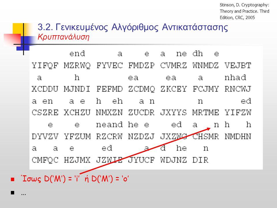 3.2. Γενικευμένος Αλγόριθμος Αντικατάστασης Κρυπτανάλυση  Ίσως D('M') = 'i' ή D('M') = 'ο'  … Stinson, D. Cryptography: Theory and Practice. Third E